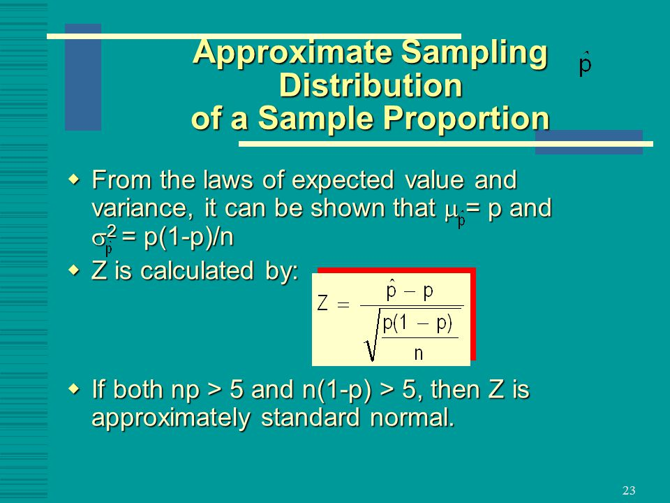 Approximate Sampling Distribution of a Sample Proportion