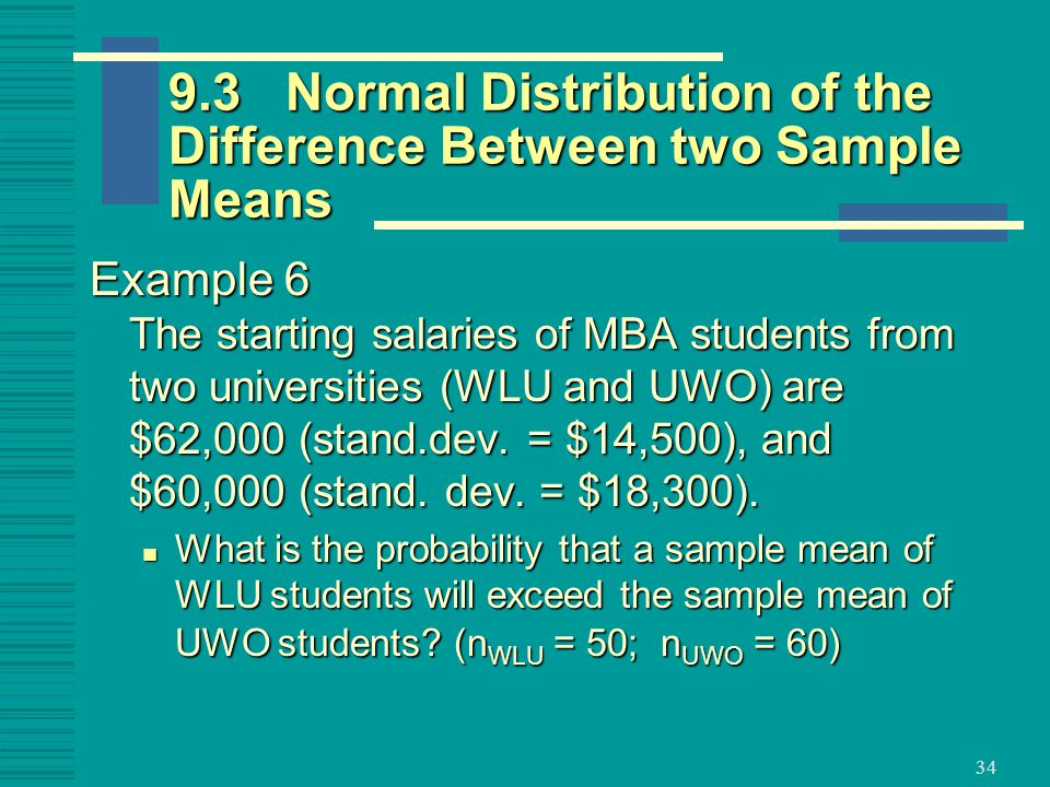 9.3 Normal Distribution of the Difference Between two Sample Means