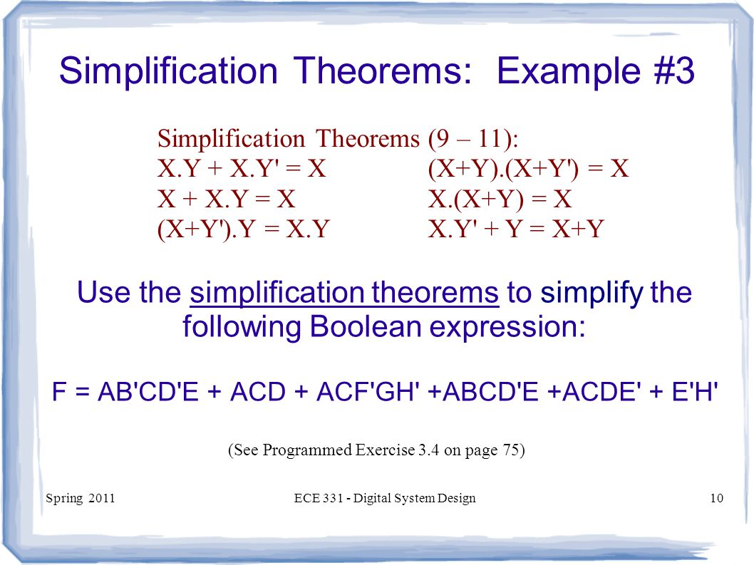 Simplification Theorems: Example #3