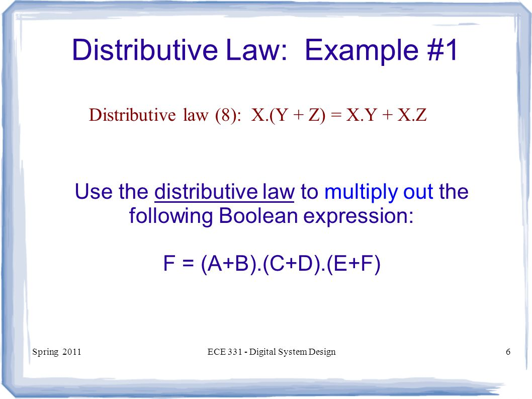 Distributive Law: Example #1
