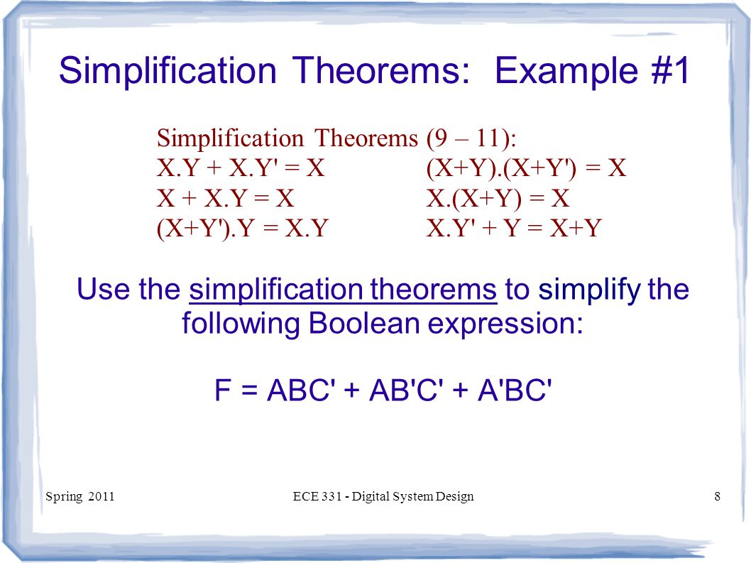 Simplification Theorems: Example #1