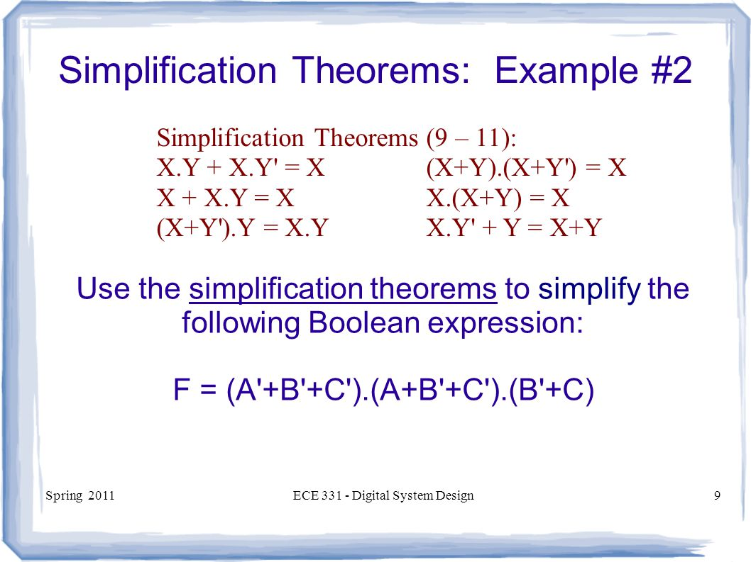 Simplification Theorems: Example #2