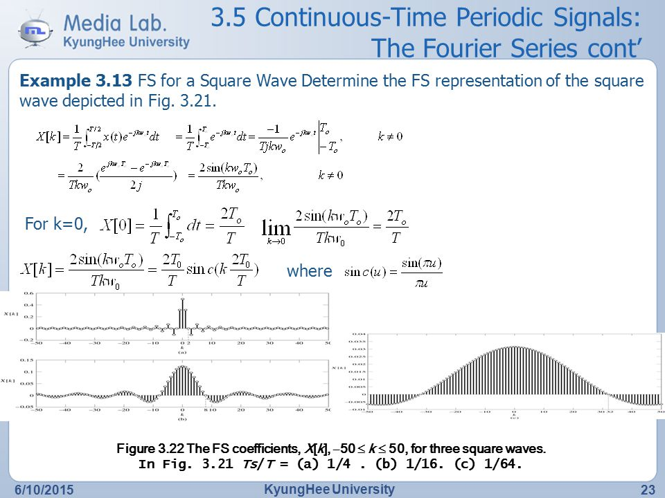 3.5 Continuous-Time Periodic Signals: The Fourier Series cont'
