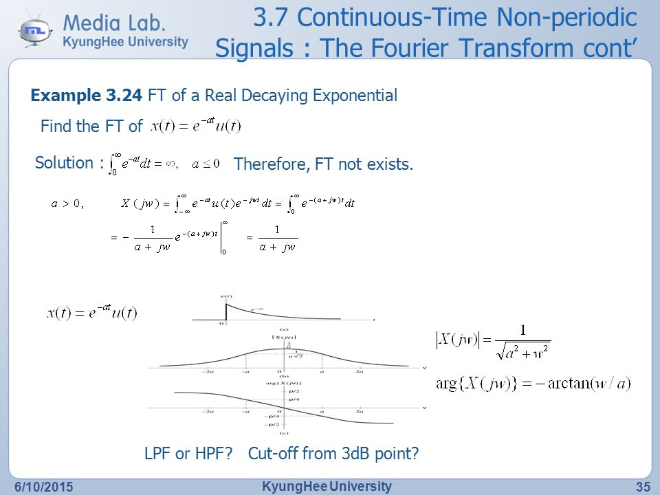 3.7 Continuous-Time Non-periodic Signals : The Fourier Transform cont'