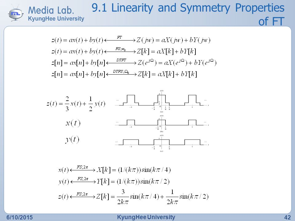 9.1 Linearity and Symmetry Properties of FT