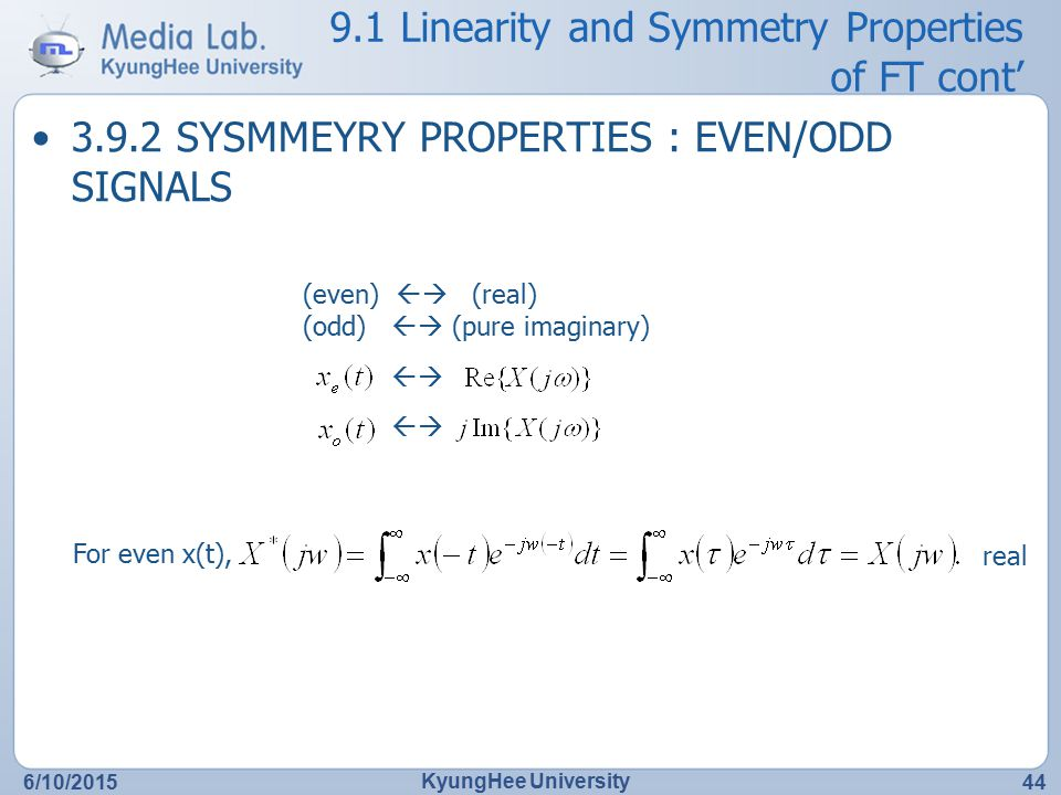 9.1 Linearity and Symmetry Properties of FT cont'