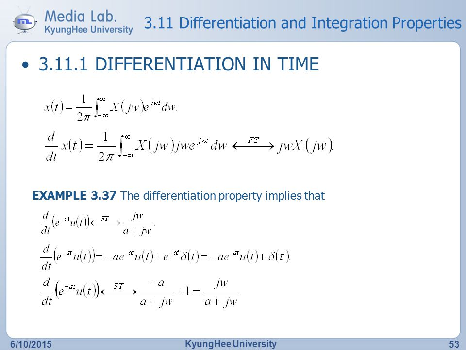 3.11 Differentiation and Integration Properties