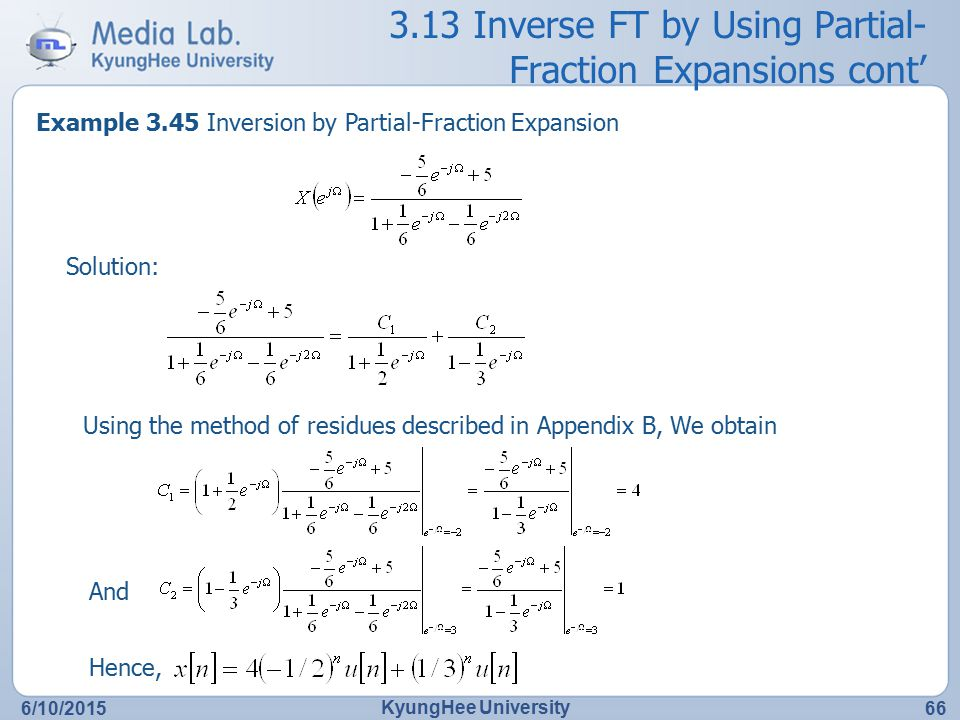 3.13 Inverse FT by Using Partial-Fraction Expansions cont'