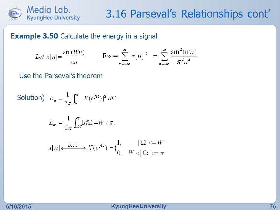 3.16 Parseval's Relationships cont'