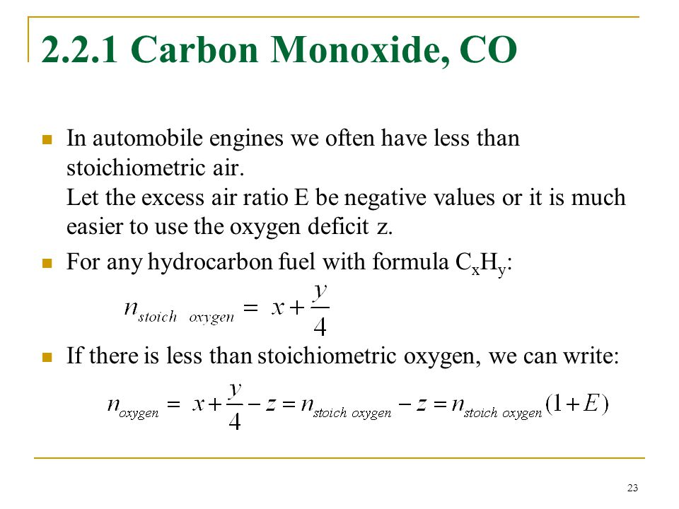 2.2.1 Carbon Monoxide, CO