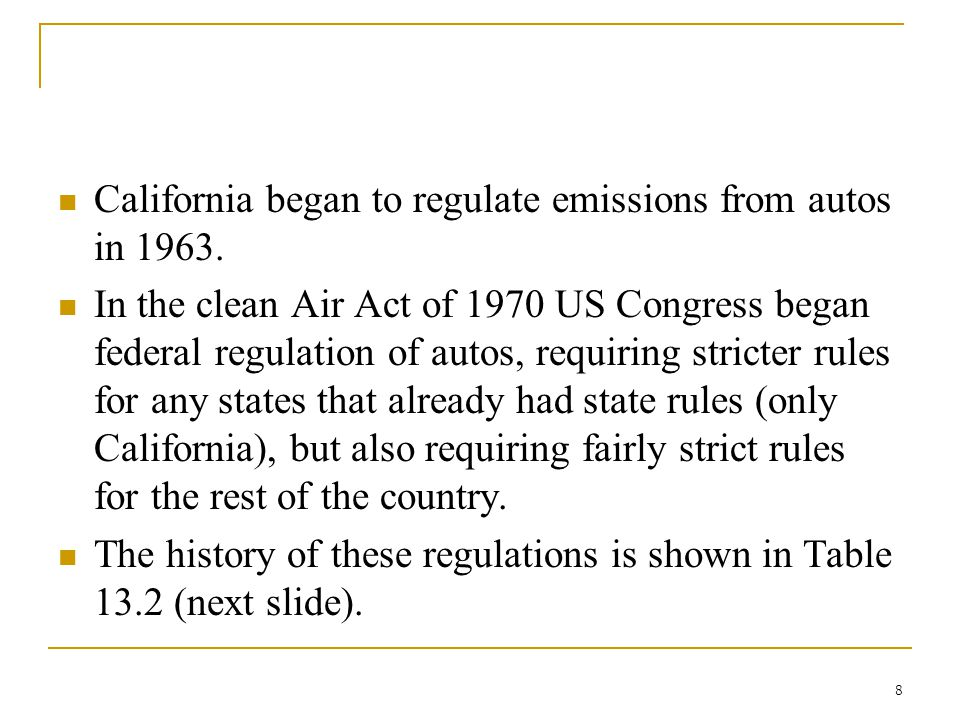 California began to regulate emissions from autos in 1963.
