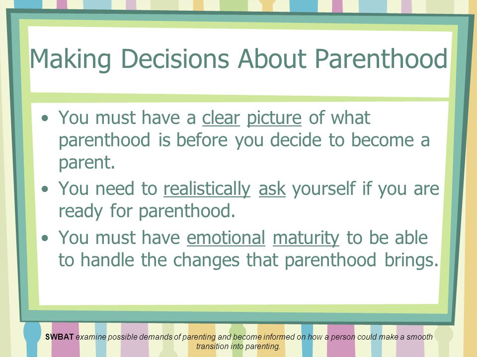 Making Decisions About Parenthood