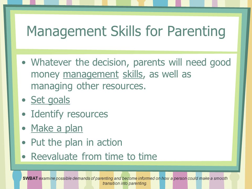 Management Skills for Parenting