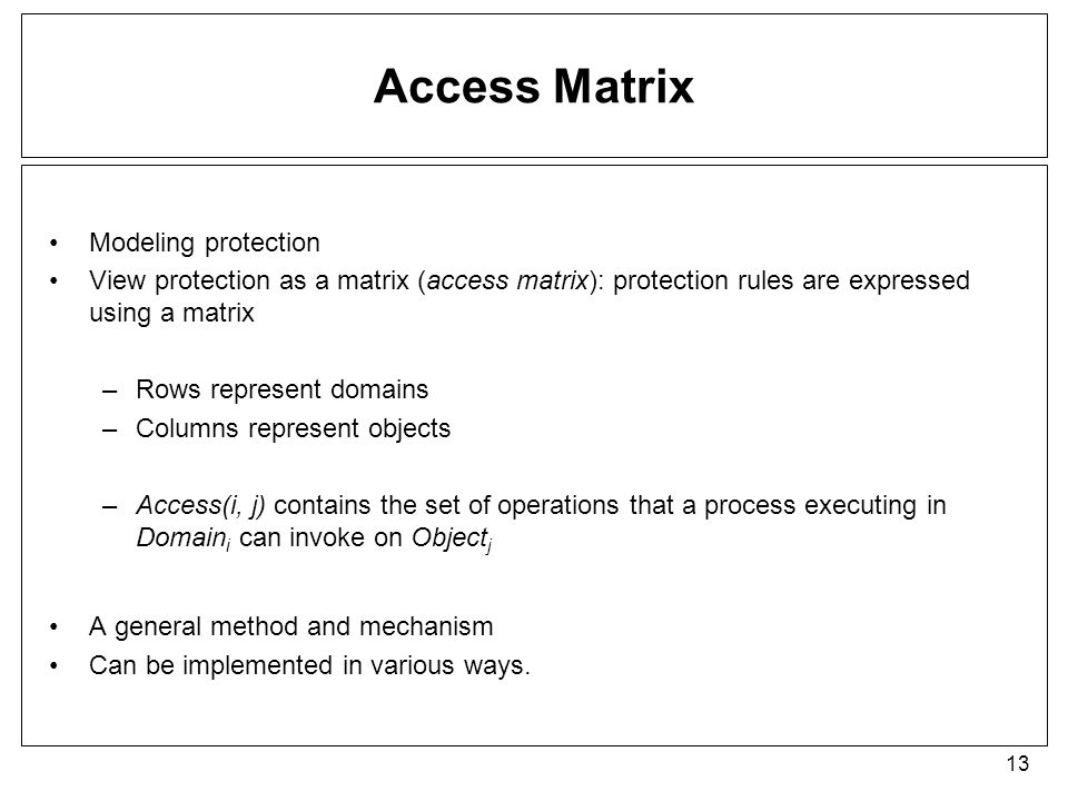 Access Matrix Modeling protection
