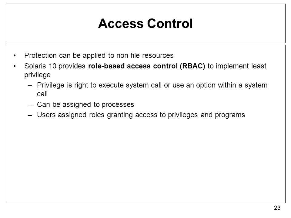 Access Control Protection can be applied to non-file resources