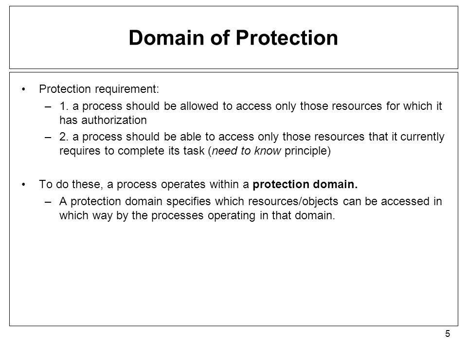 Domain of Protection Protection requirement: