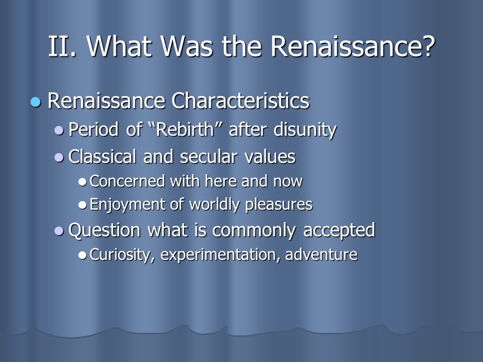 values of the renaissance period