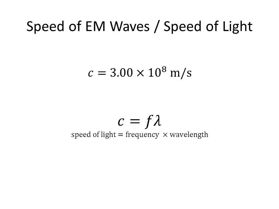Speed of EM Waves / Speed of Light