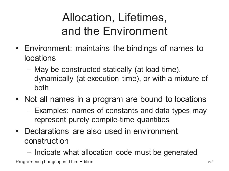 Allocation, Lifetimes, and the Environment