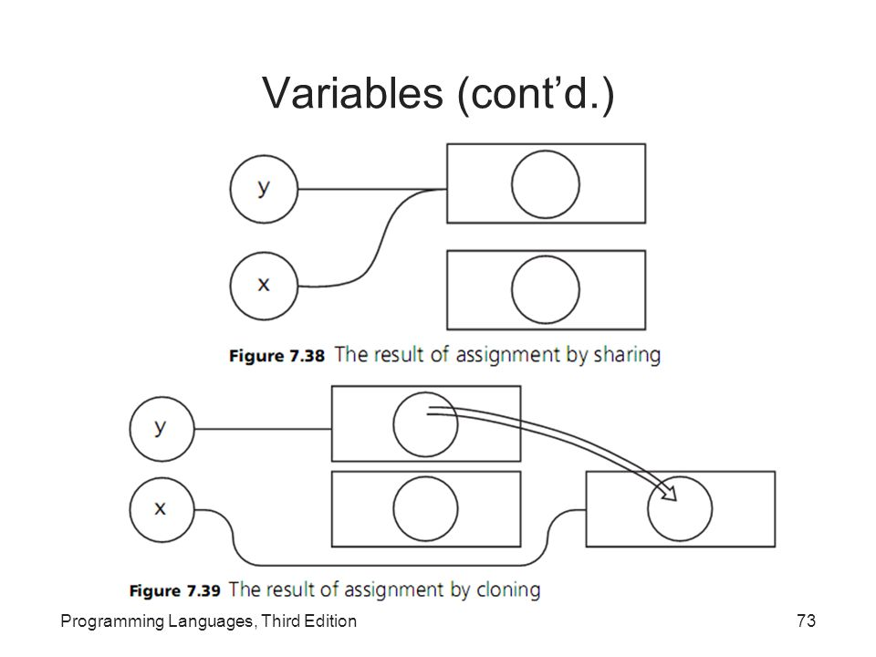 Variables (cont'd.) Programming Languages, Third Edition