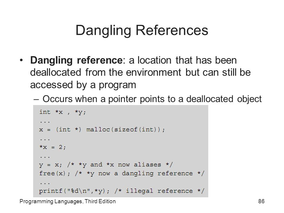 Dangling References Dangling reference: a location that has been deallocated from the environment but can still be accessed by a program.