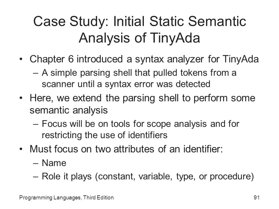 Case Study: Initial Static Semantic Analysis of TinyAda