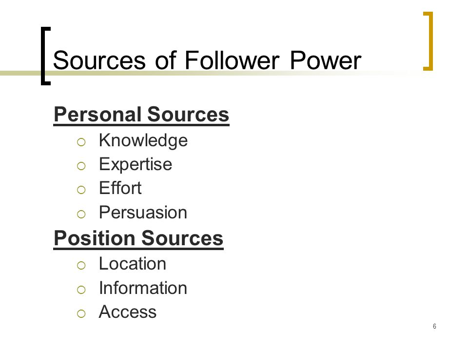 Sources of Follower Power