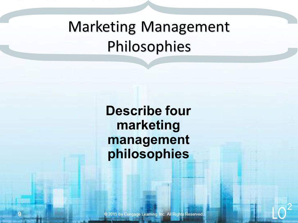 conceptualizing task and philosophies of marketing management The role of marketing as marketing gains increasing prominence as an orientation that everyone in the organization shares and as a process that all functions participate in deploying, a critical issue that arises is the role of the marketing function.