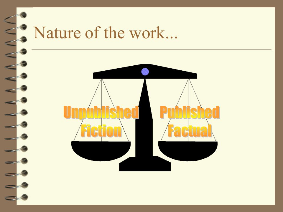 Nature of the work... Unpublished Fiction Published Factual