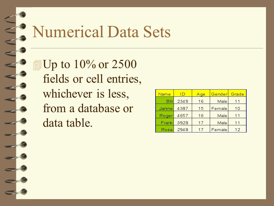 Numerical Data Sets Up to 10% or 2500 fields or cell entries, whichever is less, from a database or data table.