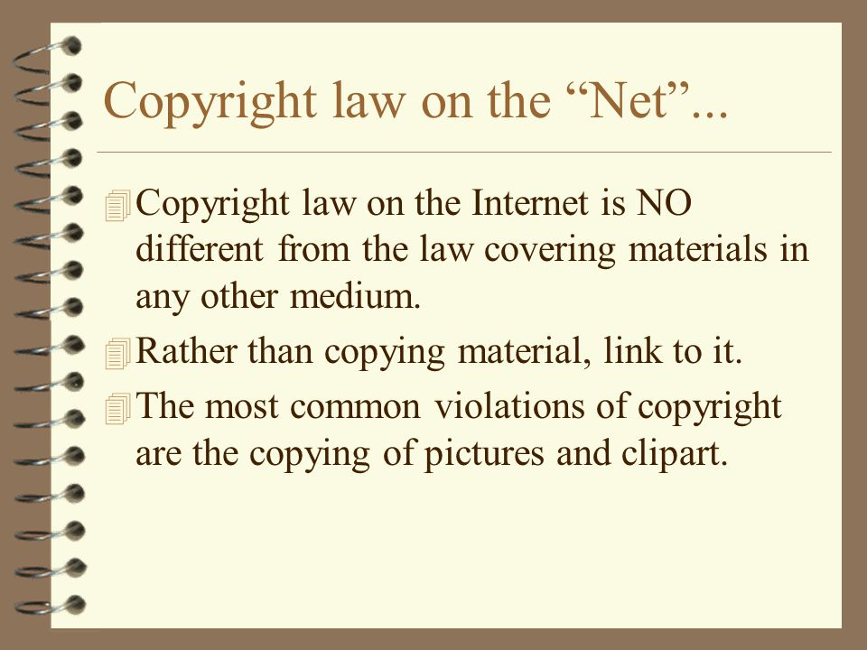 Copyright law on the Net ...
