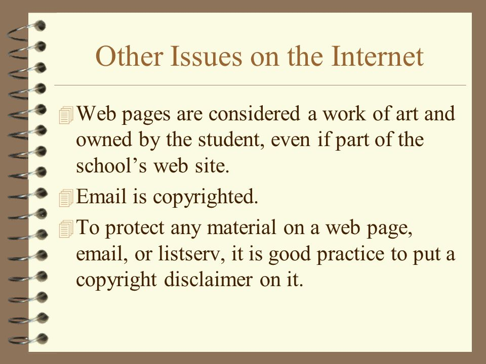 Other Issues on the Internet