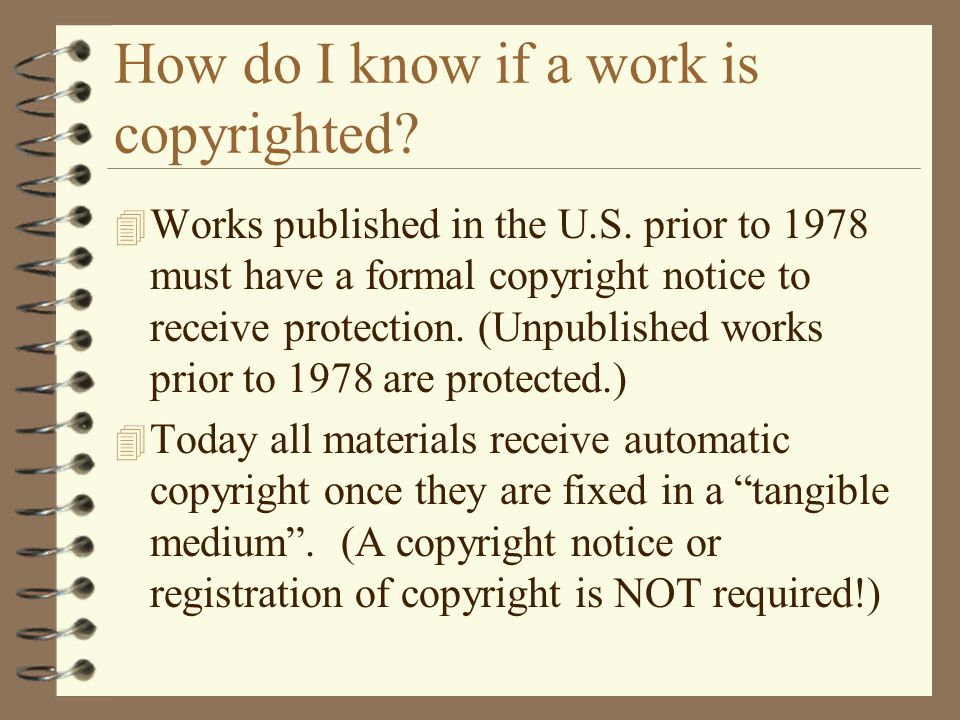 How do I know if a work is copyrighted