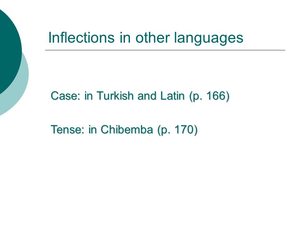Inflections in other languages