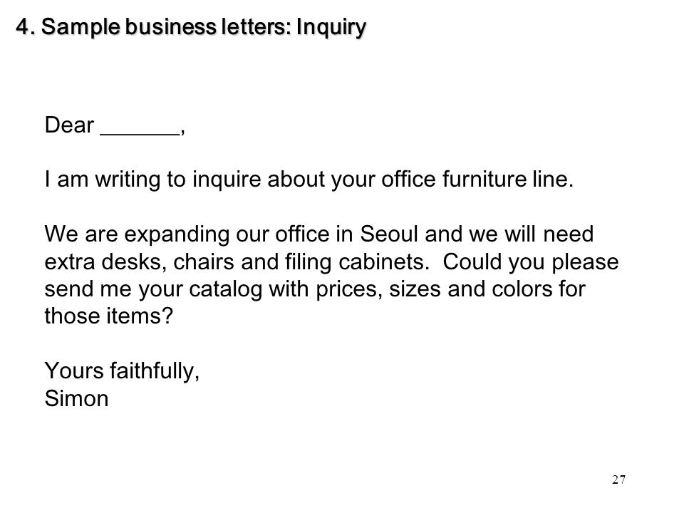 yours faithfully simon 4 sample business letters inquiry