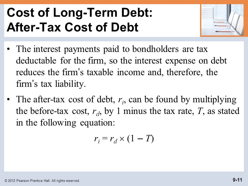 Cost of Long-Term Debt: After-Tax Cost of Debt