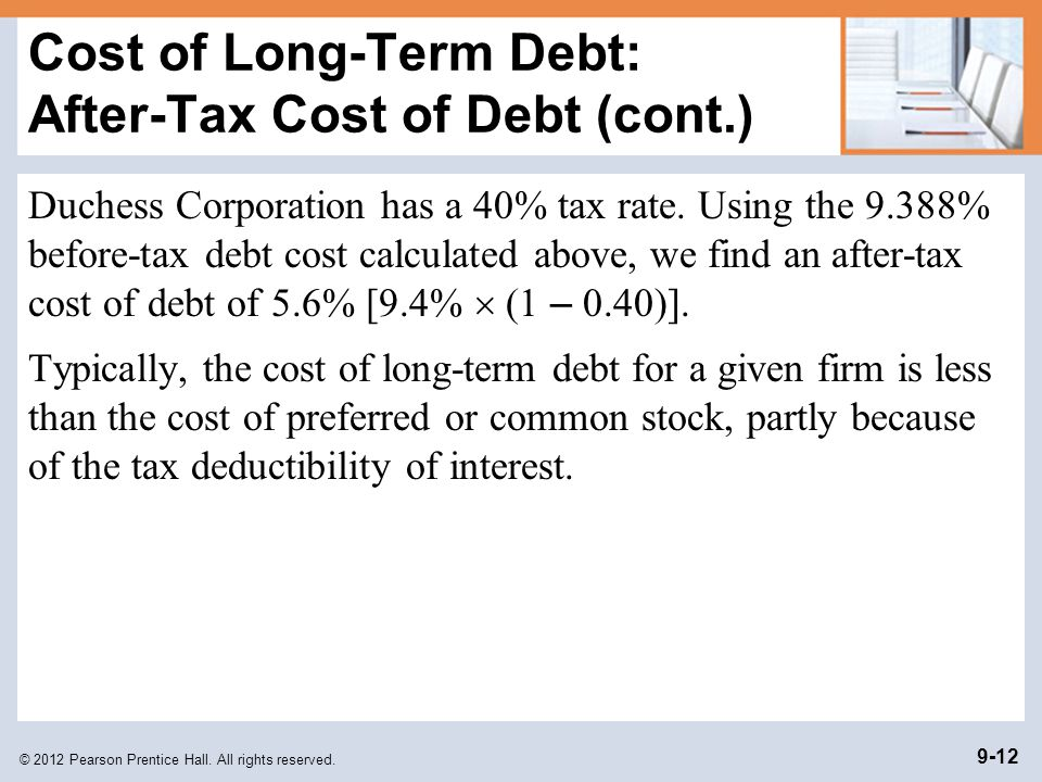 Cost of Long-Term Debt: After-Tax Cost of Debt (cont.)