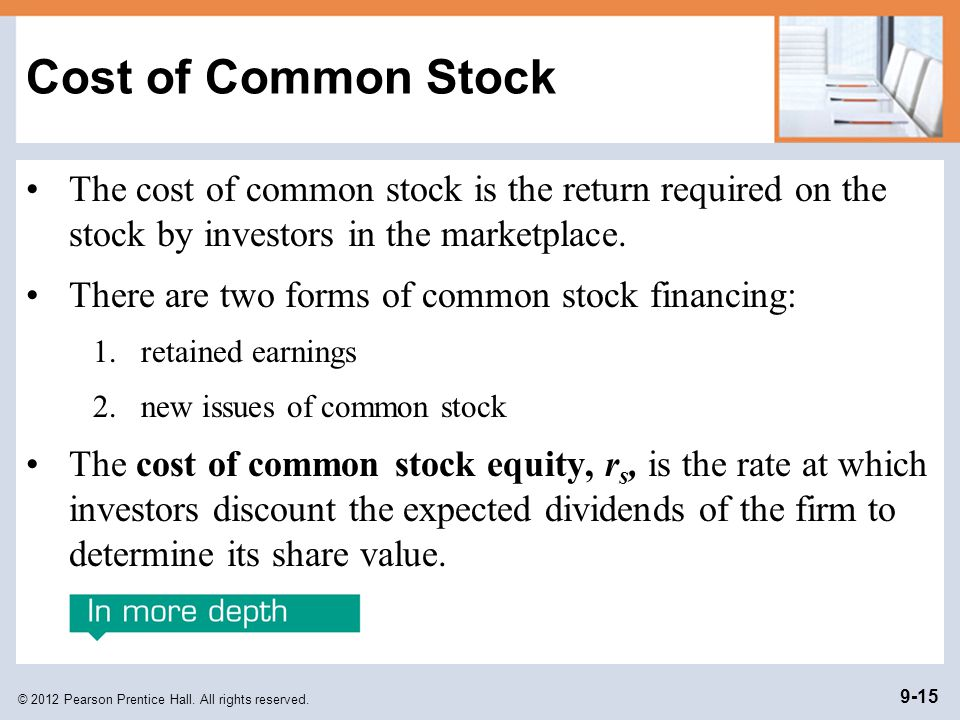 Cost of Common Stock The cost of common stock is the return required on the stock by investors in the marketplace.