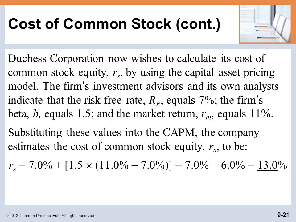 Cost of Common Stock (cont.)