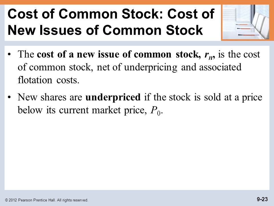 Cost of Common Stock: Cost of New Issues of Common Stock