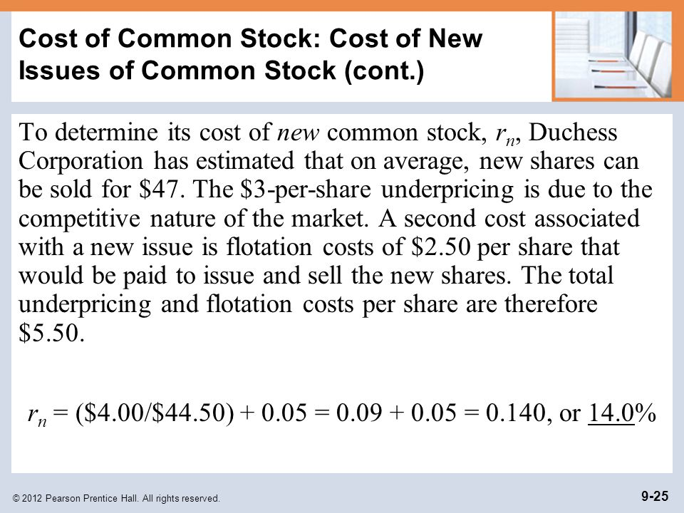 Cost of Common Stock: Cost of New Issues of Common Stock (cont.)