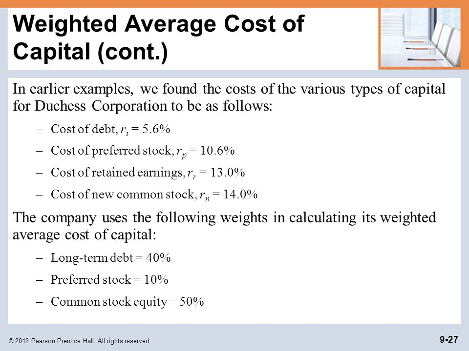 Weighted Average Cost of Capital (cont.)