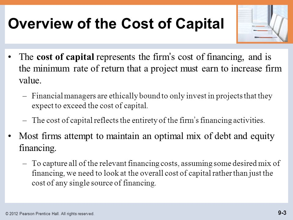 Overview of the Cost of Capital