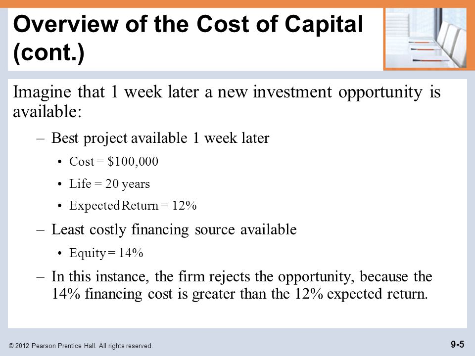 Overview of the Cost of Capital (cont.)