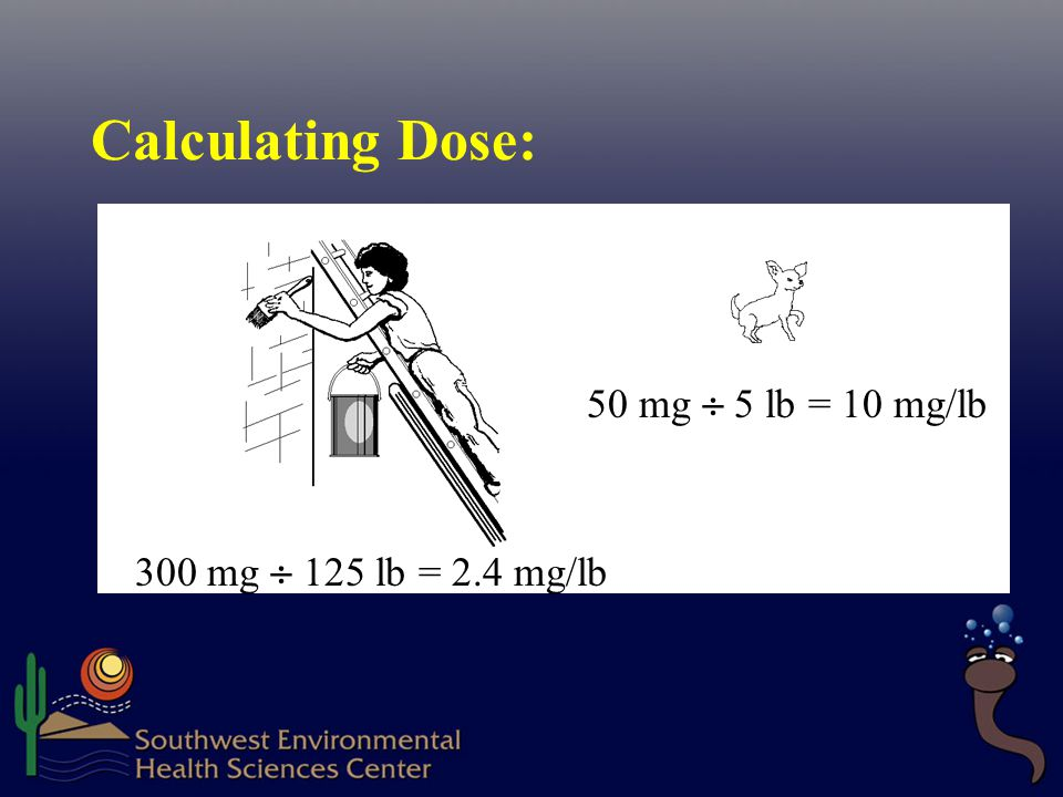 Calculating Dose: 50 mg  5 lb = 10 mg/lb 300 mg  125 lb = 2.4 mg/lb