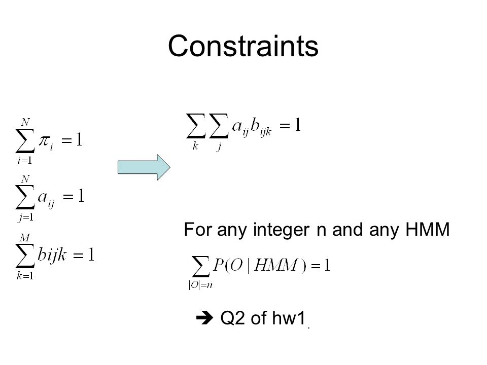 Constraints For any integer n and any HMM  Q2 of hw1.