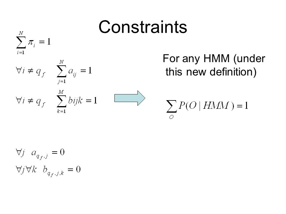 Constraints For any HMM (under this new definition)