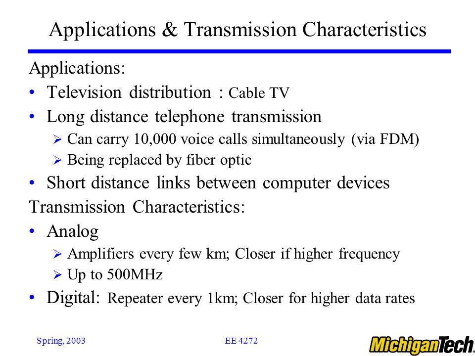 Applications & Transmission Characteristics