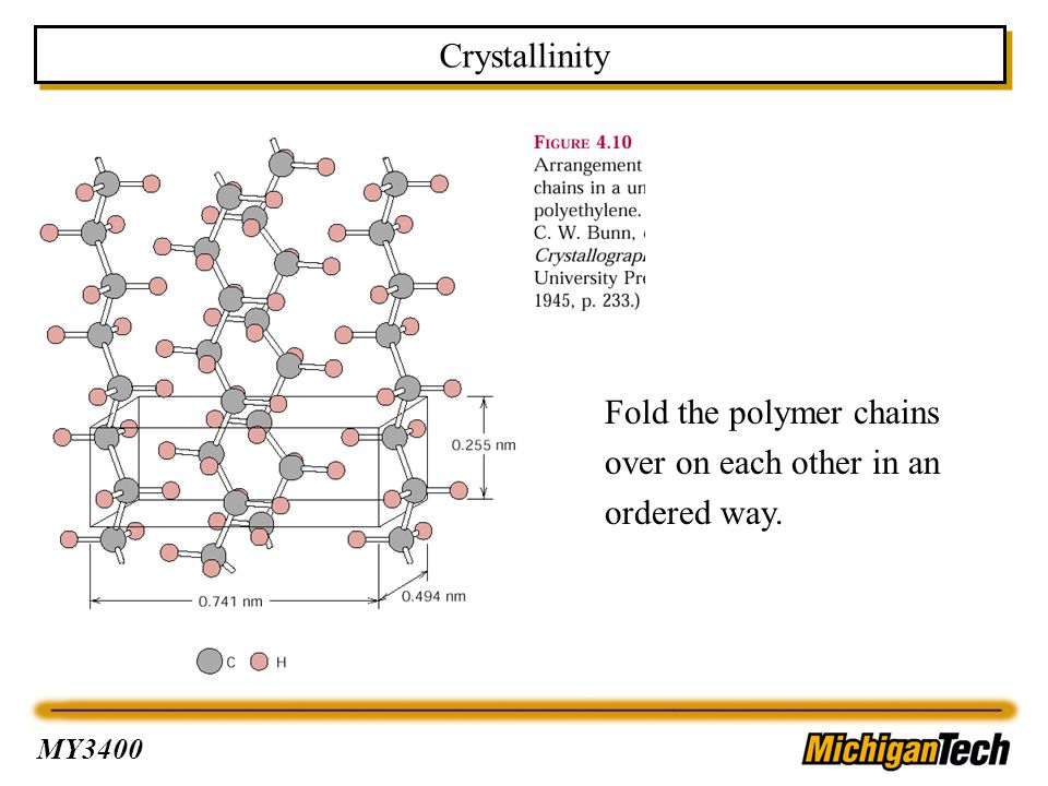 Crystallinity Fold the polymer chains over on each other in an ordered way.