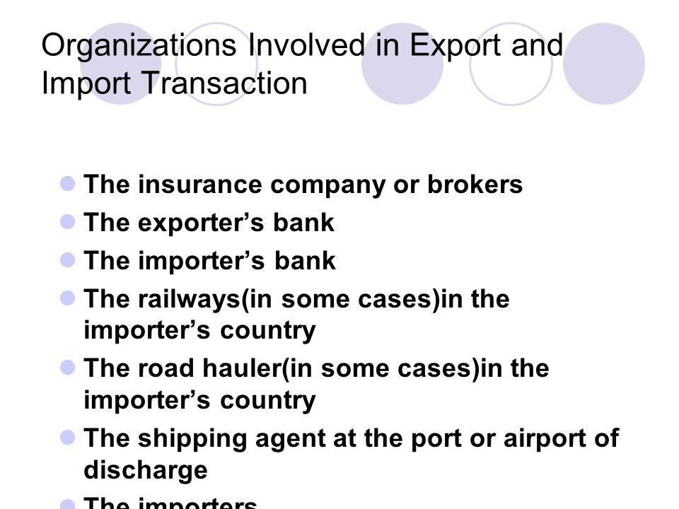 Organizations Involved in Export and Import Transaction